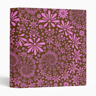 Pink and Chocolate Brown Flowers Pattern 3 Ring Binder