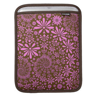 Pink and Chocolate Brown Flowers Pattern Sleeve For iPads