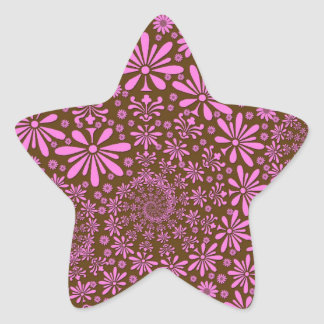 Pink and Chocolate Brown Flowers Pattern Star Sticker