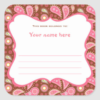 Pink and Chocolate Brown Paisley Book Plate Label Square Sticker