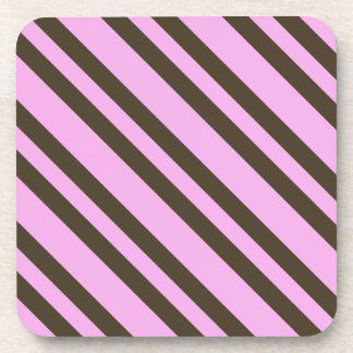 Pink and Chocolate Brown Stripes by Shirley Taylor Beverage Coaster