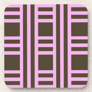 Pink and Chocolate Brown Stripes by Shirley Taylor Coaster