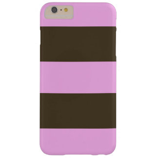 Pink And Chocolate Brown Wide Stripes Barely There iPhone 6 Plus Case