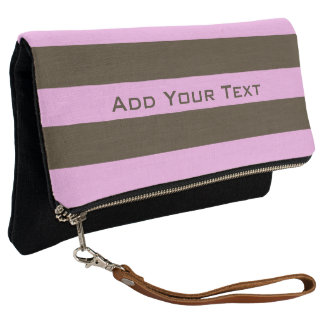 Pink and Chocolate Brown Wide Stripes by STaylor Clutch