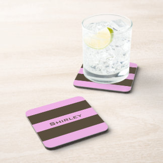Pink and Chocolate Brown Wide Stripes by STaylor Drink Coaster