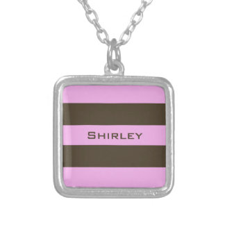 Pink and Chocolate Brown Wide Stripes by STaylor Silver Plated Necklace