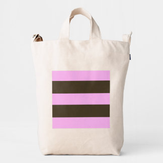 Pink And Chocolate Brown Wide Stripes Duck Bag