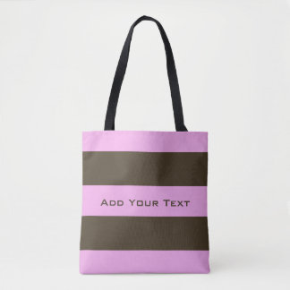 Pink And Chocolate Brown Wide Stripes Tote Bag