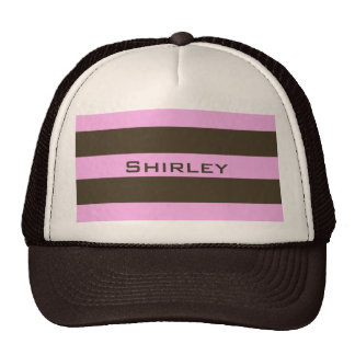 Pink And Chocolate Brown Wide Stripes Trucker Hat