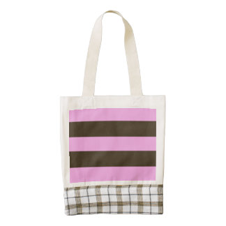 Pink And Chocolate Brown Wide Stripes Zazzle HEART Tote Bag