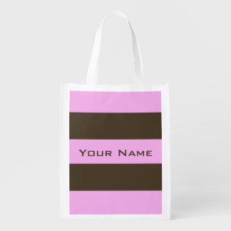 Pink and Chocolate Brown Wide Stripes Market Tote