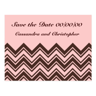 Pink and chocolate brown zigzag save the date postcard