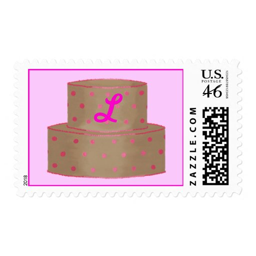 Pink and Chocolate Cake Monogram Postage Stamps