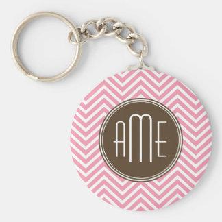 Pink and Chocolate Chevron Pattern Custom Monogram Keychain
