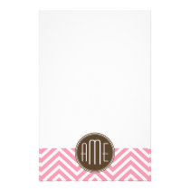 Pink and Chocolate Chevron Pattern Custom Monogram Stationery