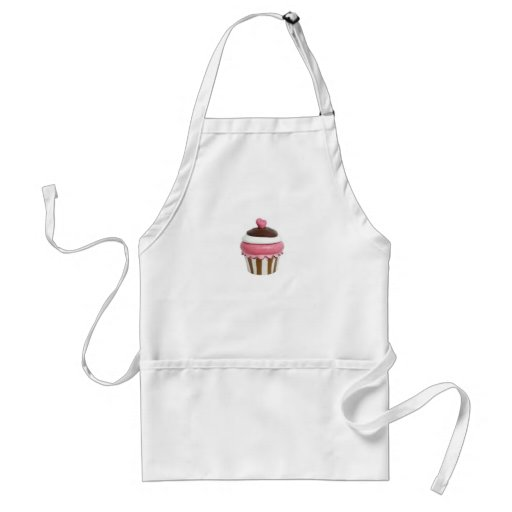 Pink and chocolate cupcake apron
