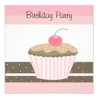 Pink and Chocolate Cupcake Birthday Invitation