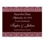 Pink and Chocolate Damask Save The Date E002 Post Card