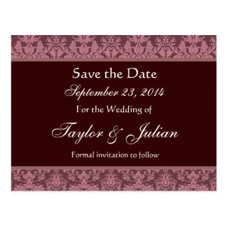 Pink and Chocolate Damask Save The Date E002 Postcard