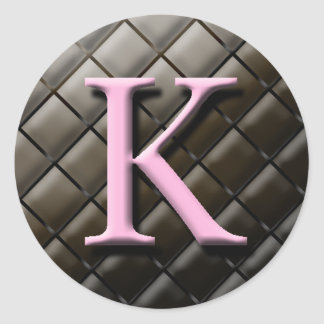 Pink And Chocolate Monogram K Wedding Favor Labels Sticker