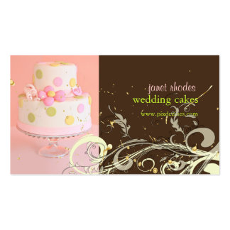 Pink and Chocolate wedding cake business cards