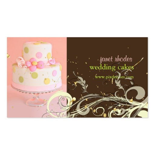 Eat cake business card templates page3 bizcardstudio pink and chocolate wedding cake business cards reheart Choice Image