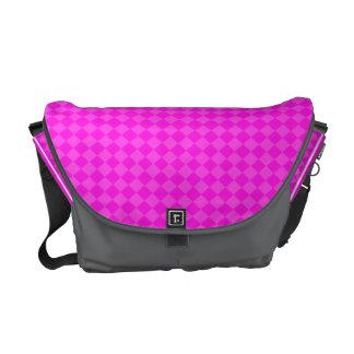 Pink and Coal Checkered Rickshaw Messenger Bag