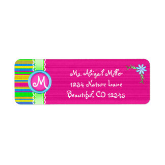 Pink and Colorful Monogram with Flower Label