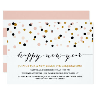 Pink and Copper Confetti Dots New Year's Eve Party Card