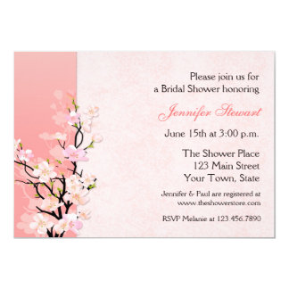 Pink and Coral Blossoms Bridal Shower Invitation