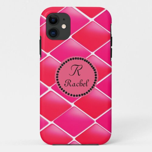 Pink and Coral Diamonds With Monogram Phone Case
