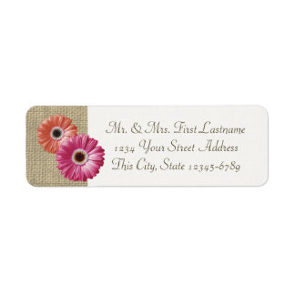 Pink and Coral Gerbera Daisy and Burlap Label