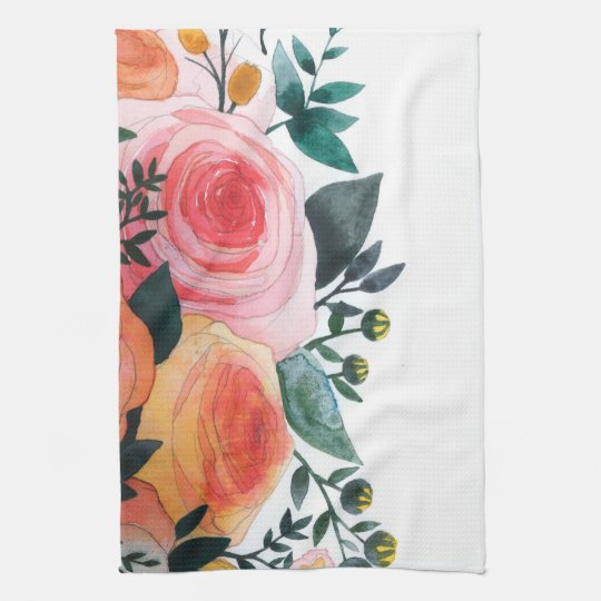 6 Tips To Using Coral In The Kitchen: Pink And Coral Roses Kitchen Towel