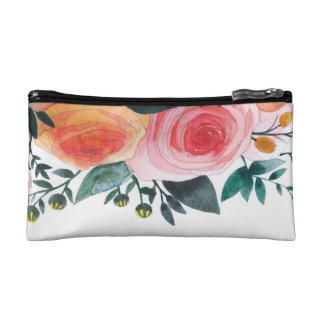 Pink and Coral Roses Watercolor Cosmetic Bag