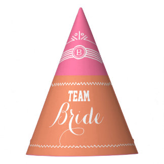 Pink and Coral Team Bride party hat
