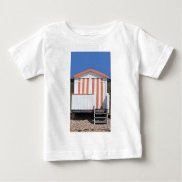 Beach Themed Pink and Cream Beach Hut Baby T-Shirt