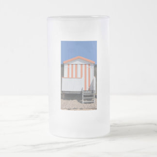 Pink and Cream Beach Hut Frosted Glass Beer Mug
