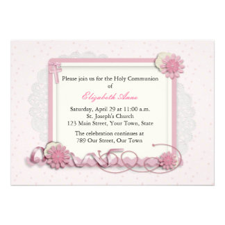 Pink and Cream Floral Cluster Religious Custom Announcement