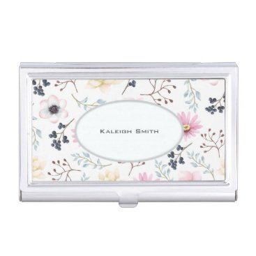 Professional Business Pink and Cream Floral on White Business... Case For Business Cards