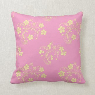 Pink and Cream Floral Throw Pillow
