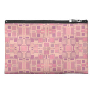 Pink and Cream Geometric Jumble Travel Accessories Bag