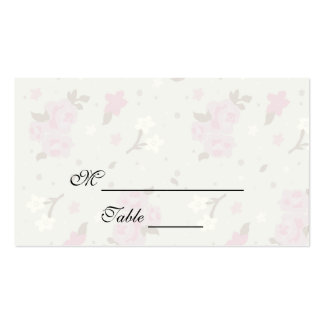 Pink and Cream Green Spring Flowers Placecards Business Card Templates