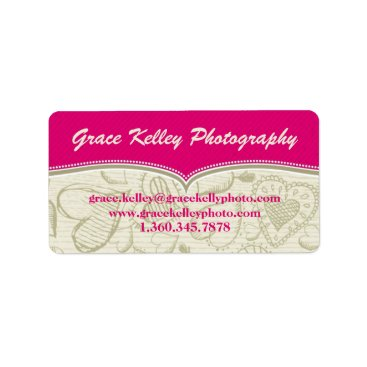 Professional Business Pink and Cream HeartSwoon Labels