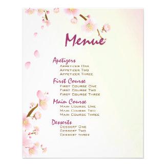 "Pink And Cream Magnolia Blossom Wedding Menu 4.5"" X 5.6"" Flyer"