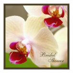 """Pink and Cream Orchid Bridal Shower Square 5.25"""" Square Invitation Card"""