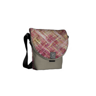 Pink and Cream Painted Fractal Courier Bag