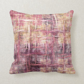 Pink and Cream Painted Fractal Throw Pillow