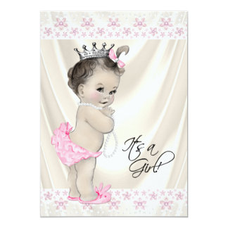 Pink and Cream Pearls and Lace Baby Shower 5x7 Paper Invitation Card