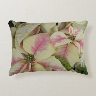 Pink and Cream Poinsettias Floral Accent Pillow