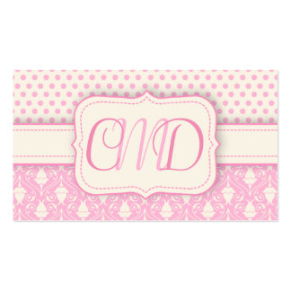 Pink and Cream Polka Dots & Damask Monogram Double-Sided Standard Business Cards (Pack Of 100)